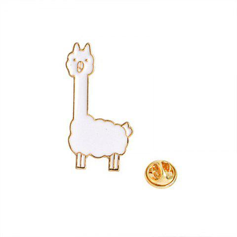 Simple Fashion Fox Alpaca Cartoon Brooch Clothing Ornaments - WHITE 2.9X1.4CM