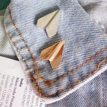 New Geometric Patterns Pins Paper Aircraft Brooches Costumes Accessories Fashion - SILVER 2X1.6CM