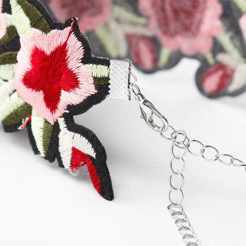 Rose Embroidery Necklace Personality Elements Safflower Collar Girl's Best Gift - multicolor 24X4.7X16CM