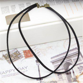 Simple Fashion New Style Jewelry Double Flannelette Necklace Clavicle Chain Girl - BLACK 28CM 31CM 5CM