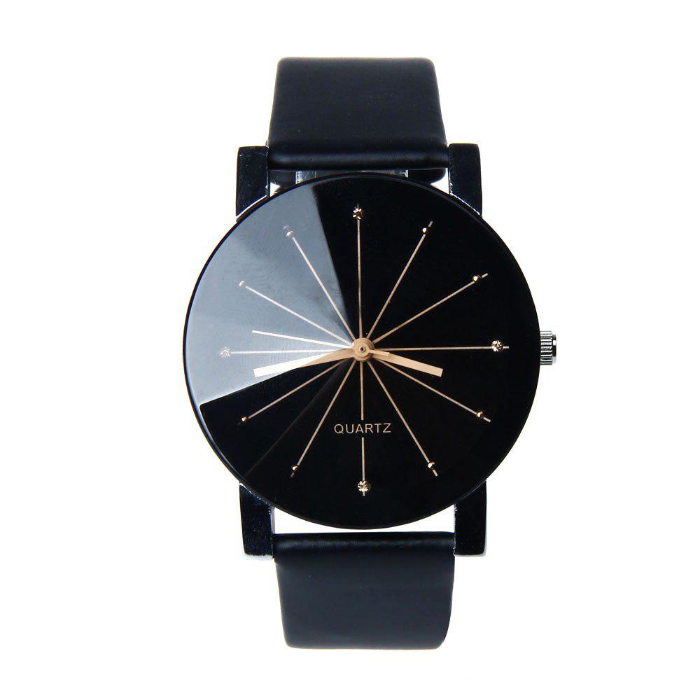 New Fashion Men Radial Quartz Casual Watch - BLACK