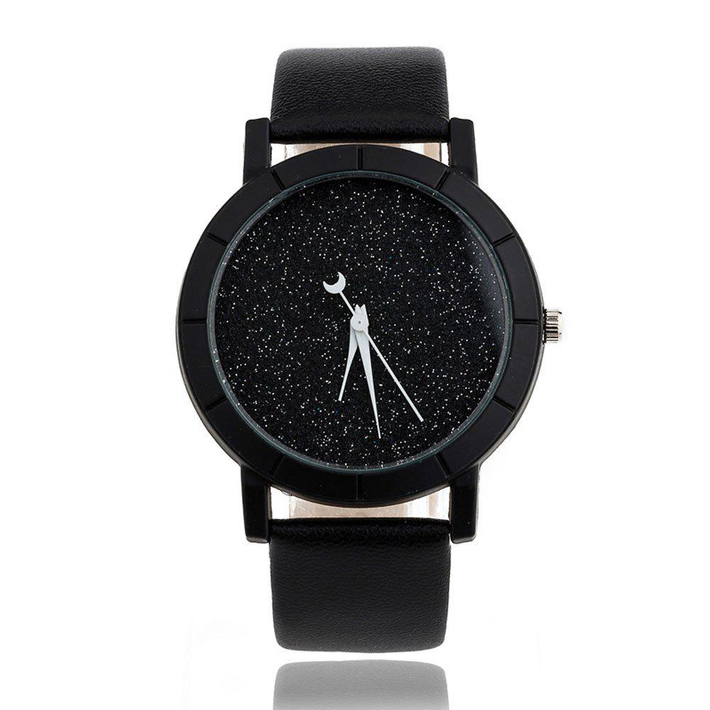 Fashion Starry Women Men Sequins Moon Clock Faux Leather Quartz Wrist Watch relogio masculino quartz watch men leather casual watches men s clock male sports wristwatch montre homme hodinky ceasuri saat