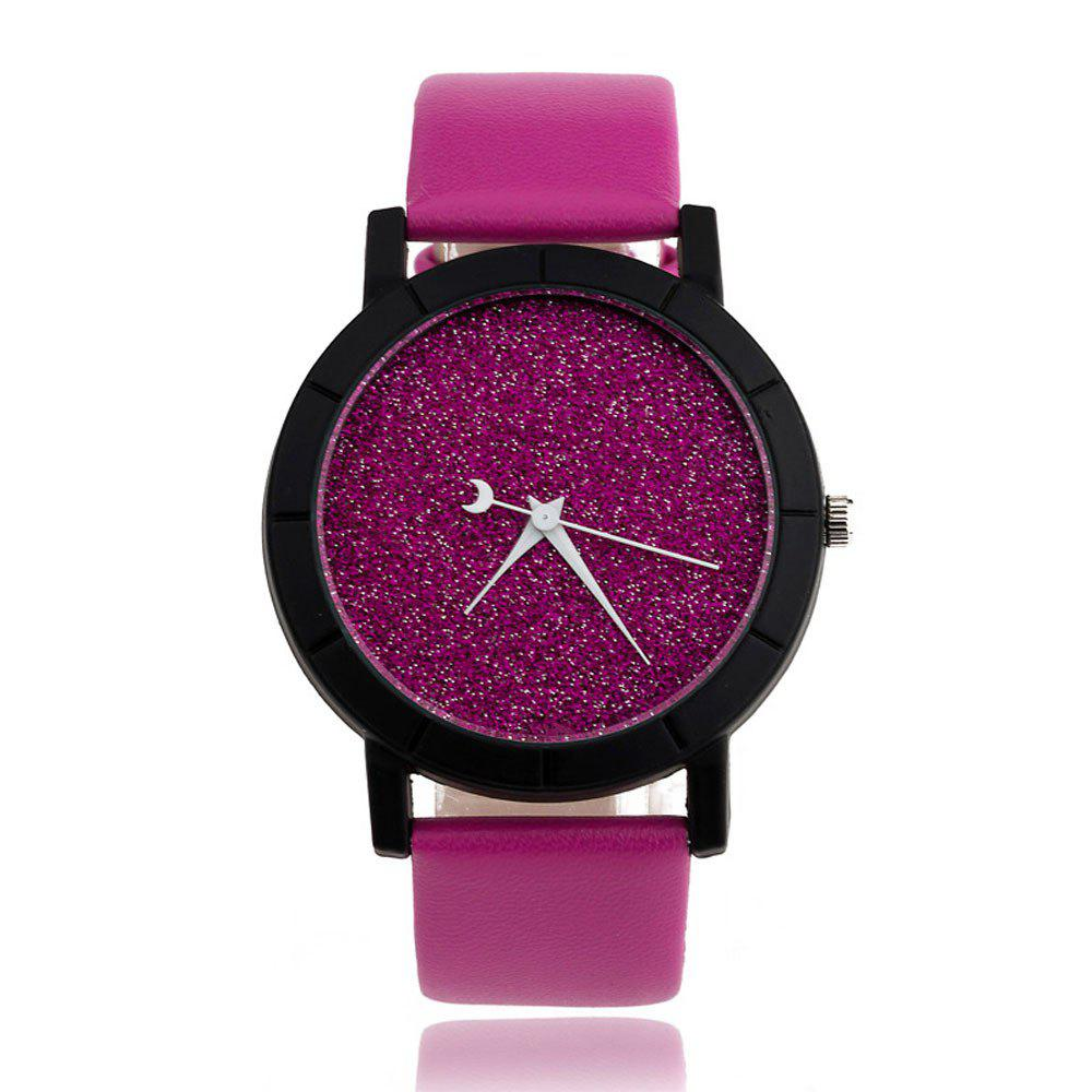 Fashion Starry Women Men Sequins Moon Clock Faux Leather Quartz Wrist Watch isrotel ganim ex gardens 4 мертвое море