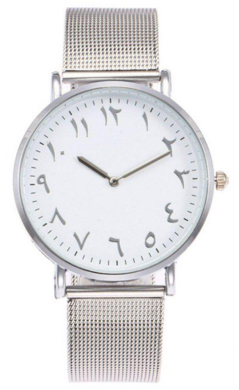 New Fashion Lady Alloy Mesh Band Student Casual Watch - SILVER