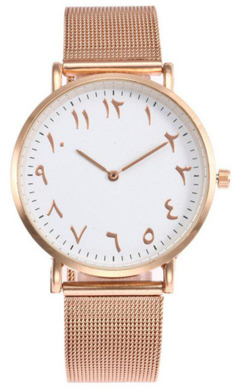 Nouvelle mode Lady Alloy Mesh Band étudiant Casual Montre - Or de Rose