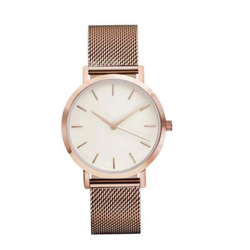 Fashion Women Business Stainless Steel  Minimalist Quartz Wrist Watch - ROSE GOLD