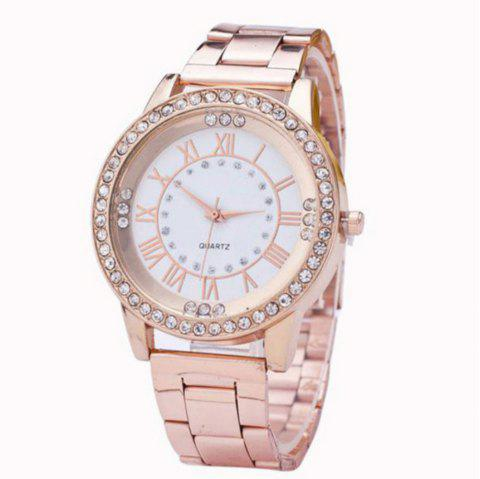 Mesdames Fashion Business diamant montre à quartz - Or de Rose