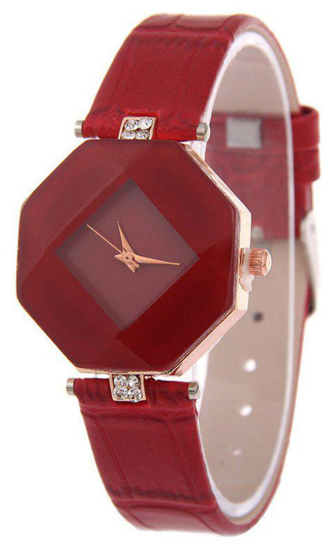 The Latest Fashion Diamond Rhombus Lady Watch Student Leisure Fashion Watch - RED