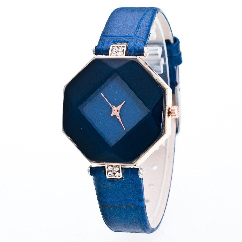 The Latest Fashion Diamond Rhombus Lady Watch Student Leisure Fashion Watch - BLUE