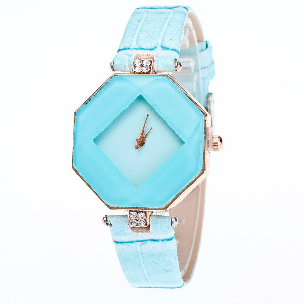 The Latest Fashion Diamond Rhombus Lady Watch Student Leisure Fashion Watch - LIGHT BLUE