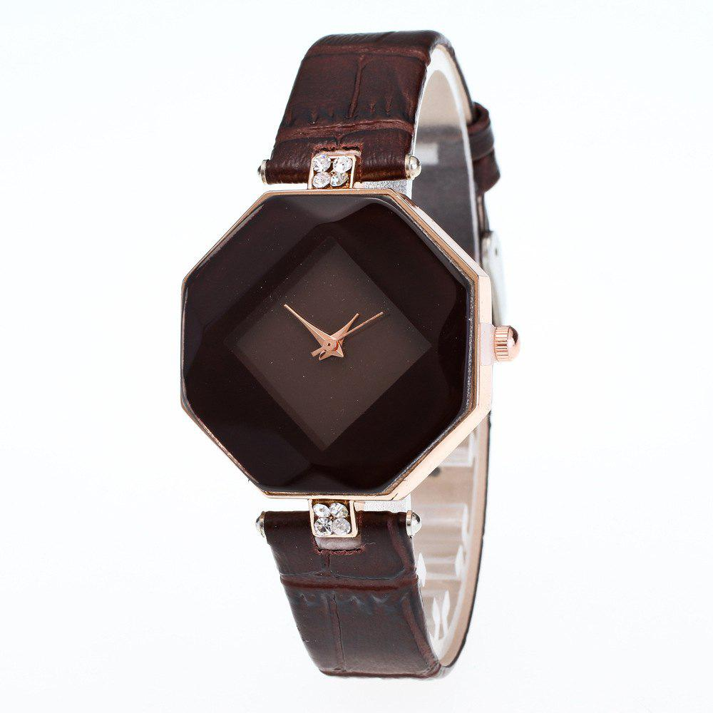The Latest Fashion Diamond Rhombus Lady Watch Student Leisure Fashion Watch - DEEP COFFEE