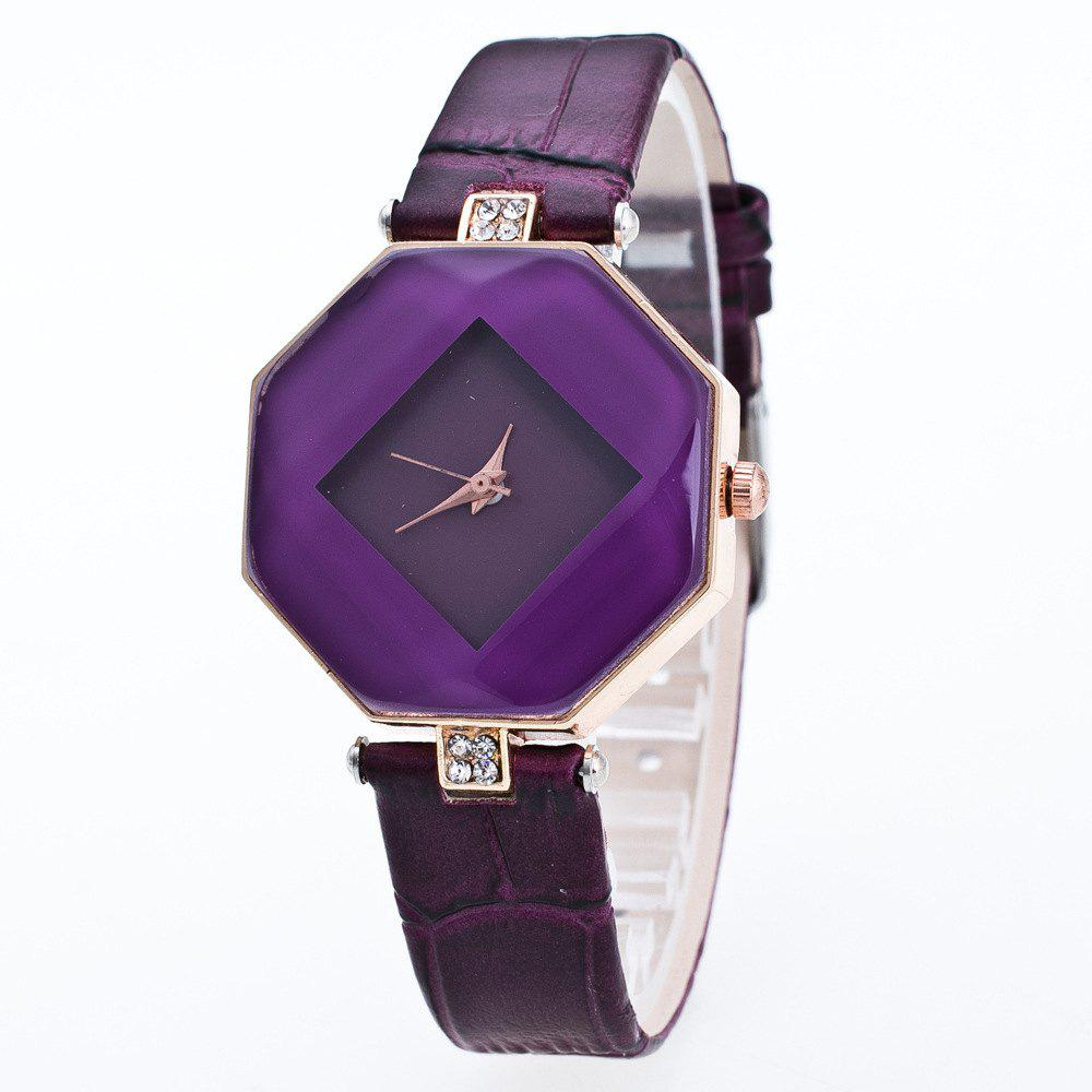 The Latest Fashion Diamond Rhombus Lady Watch Student Leisure Fashion Watch - VIOLET