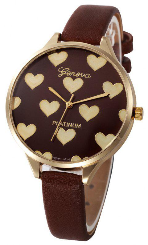 Fashion Heart Pattern Women  Leather Quartz  Montre Ladies Watch - BROWN