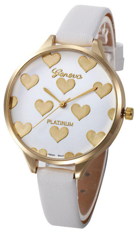 Fashion Heart Pattern Women  Leather Quartz  Montre Ladies Watch - WHITE