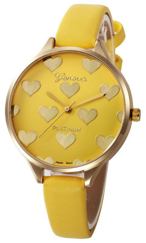 Fashion Heart Pattern Women  Leather Quartz  Montre Ladies Watch - YELLOW