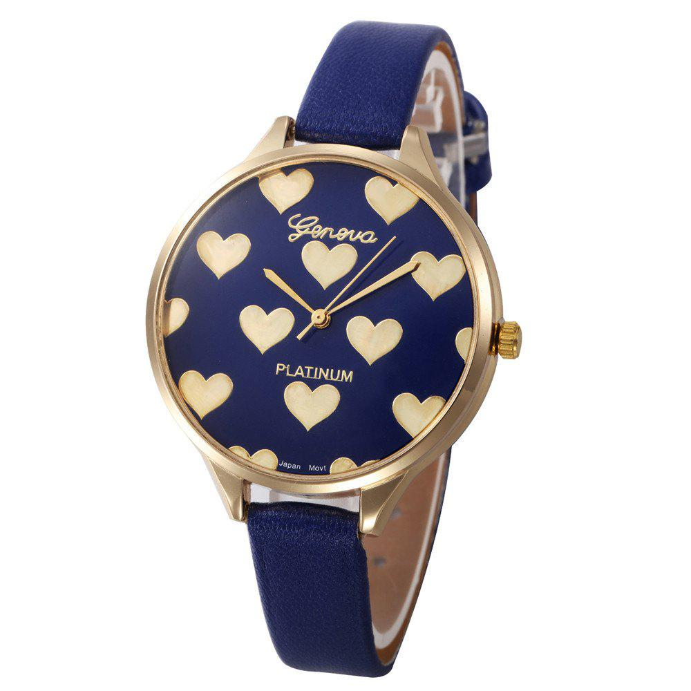 Fashion Heart Pattern Women  Leather Quartz  Montre Ladies Watch - BLUE
