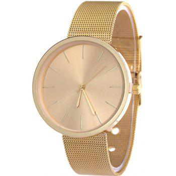 Fashion Silver And Rose Gold Mesh Band Wrist  Casual Women Quartz Watch - GOLD