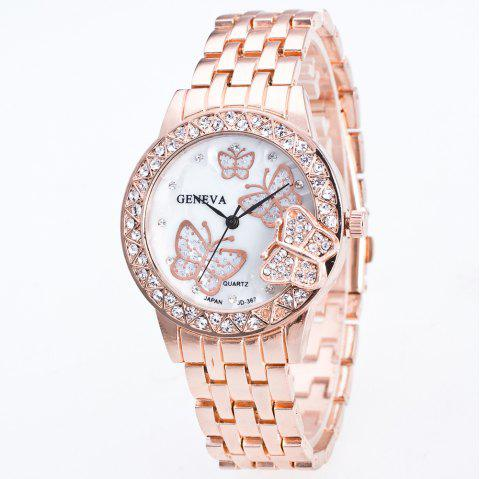 Fashion Diamond Ladies Watch Gold Butterfly Steel Band Quartz Watch - ROSE GOLD