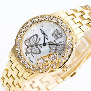 Fashion Diamond Ladies Watch Gold Butterfly Steel Band Quartz Watch - GOLD