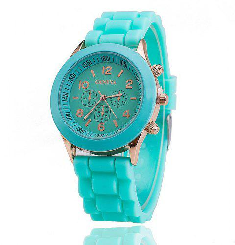 Geneva Casual Fashion Silicone Band Women Quartz Watch - LIGHT BLUE