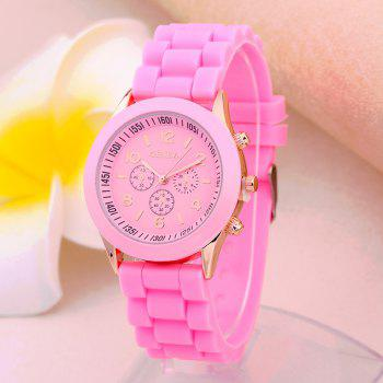 Geneva Casual Fashion Silicone Band Women Quartz Watch - PINK