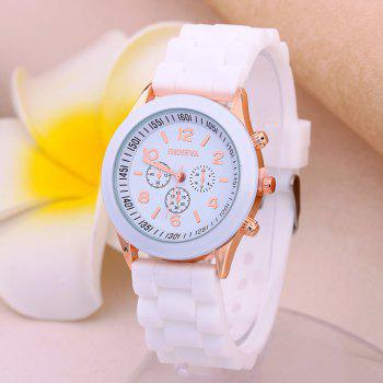 Geneva Casual Fashion Silicone Band Women Quartz Watch - WHITE