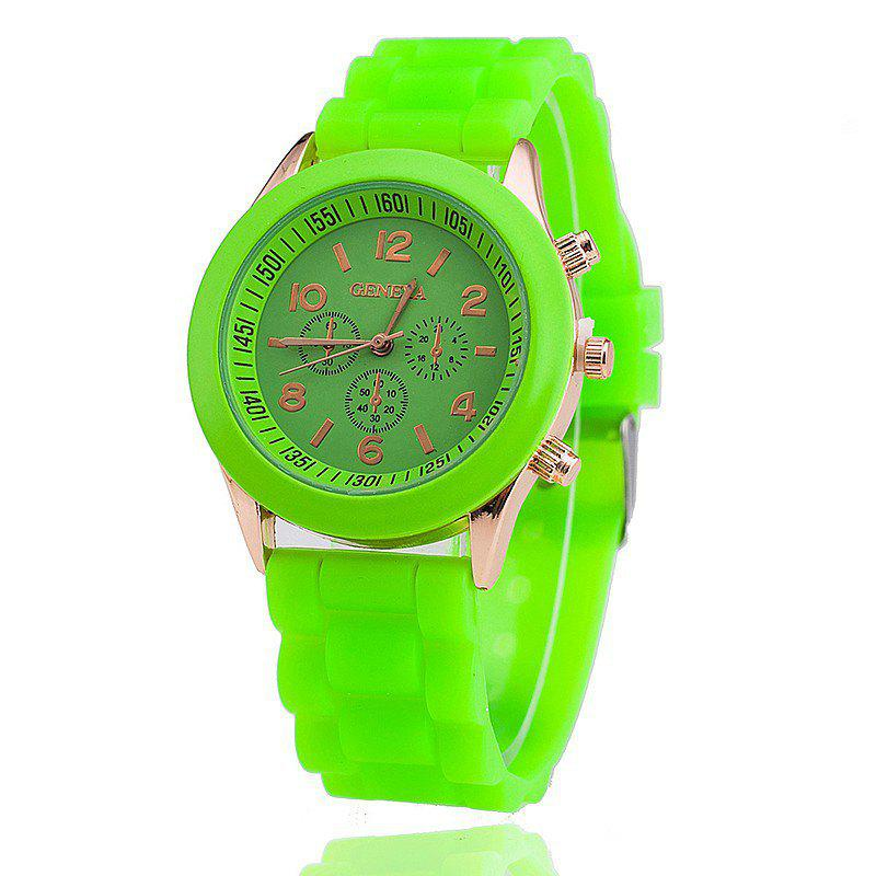 Geneva Casual Fashion Silicone Band Women Quartz Watch - TEA GREEN