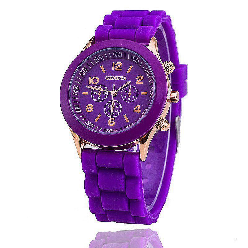 Geneva Casual Fashion Silicone Band Women Quartz Watch - VIOLET