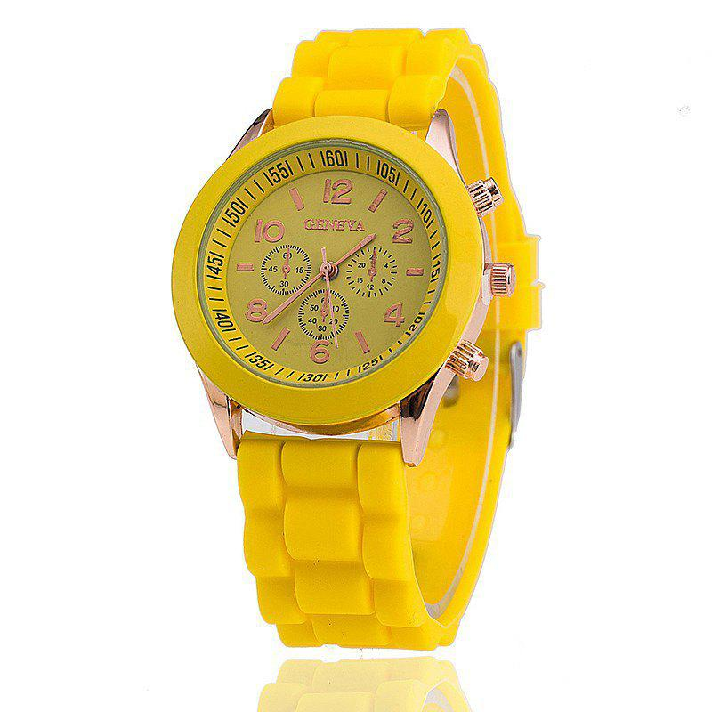 Geneva Casual Fashion Silicone Band Women Quartz Watch - YELLOW