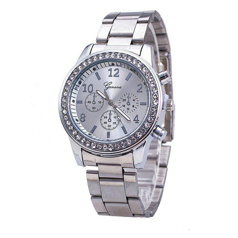 The New Fashion Lady Business Steel Quartz Diamond Wrist Watch - SILVER