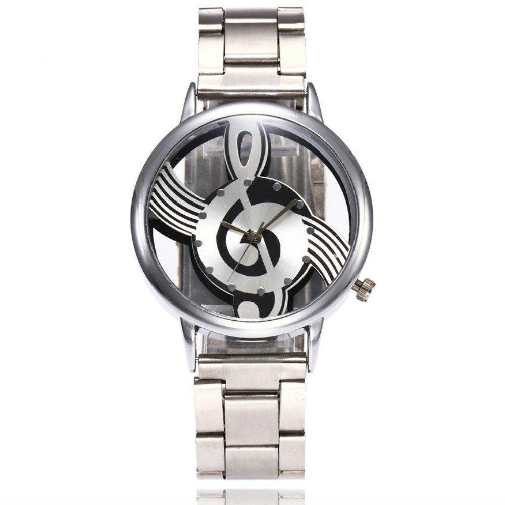 New  Fashion Hollow Music Note Notation Stainless Steel Quartz Wristwatch - SILVER