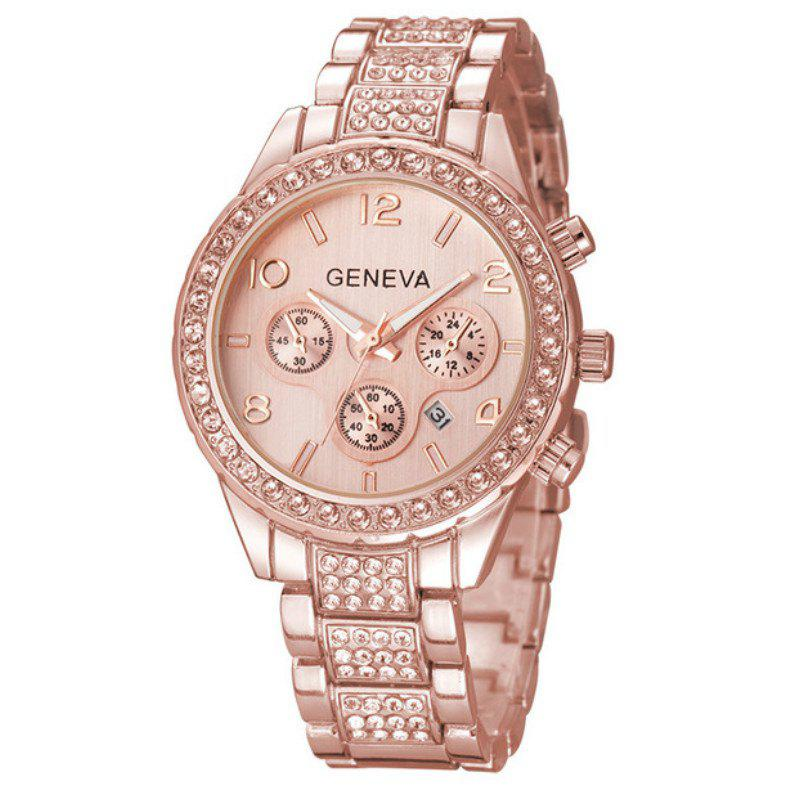 Fashion Lady Business Steel Belt Quartz Three Sub Dial  Watch - ROSE GOLD