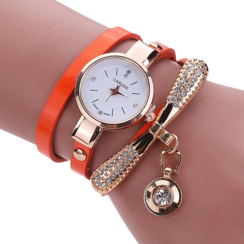 Women Leather Rhinestone Analog  Quartz Wrist  Harajuku Watches Bracelet - ORANGE