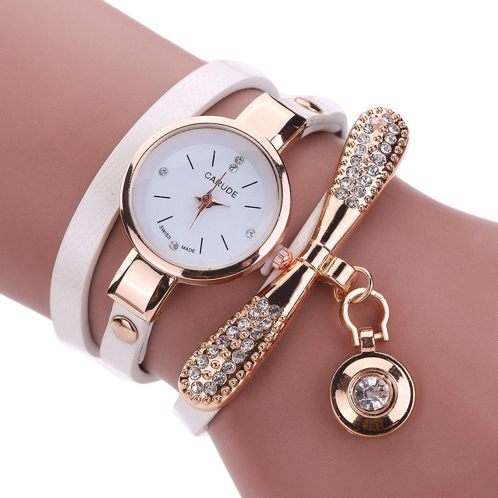 Image of Women Leather Rhinestone Analog Quartz Wrist Harajuku Watches Bracelet