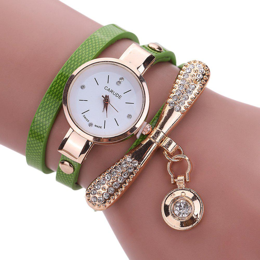 Women Leather Rhinestone Analog  Quartz Wrist  Harajuku Watches Bracelet - GREEN
