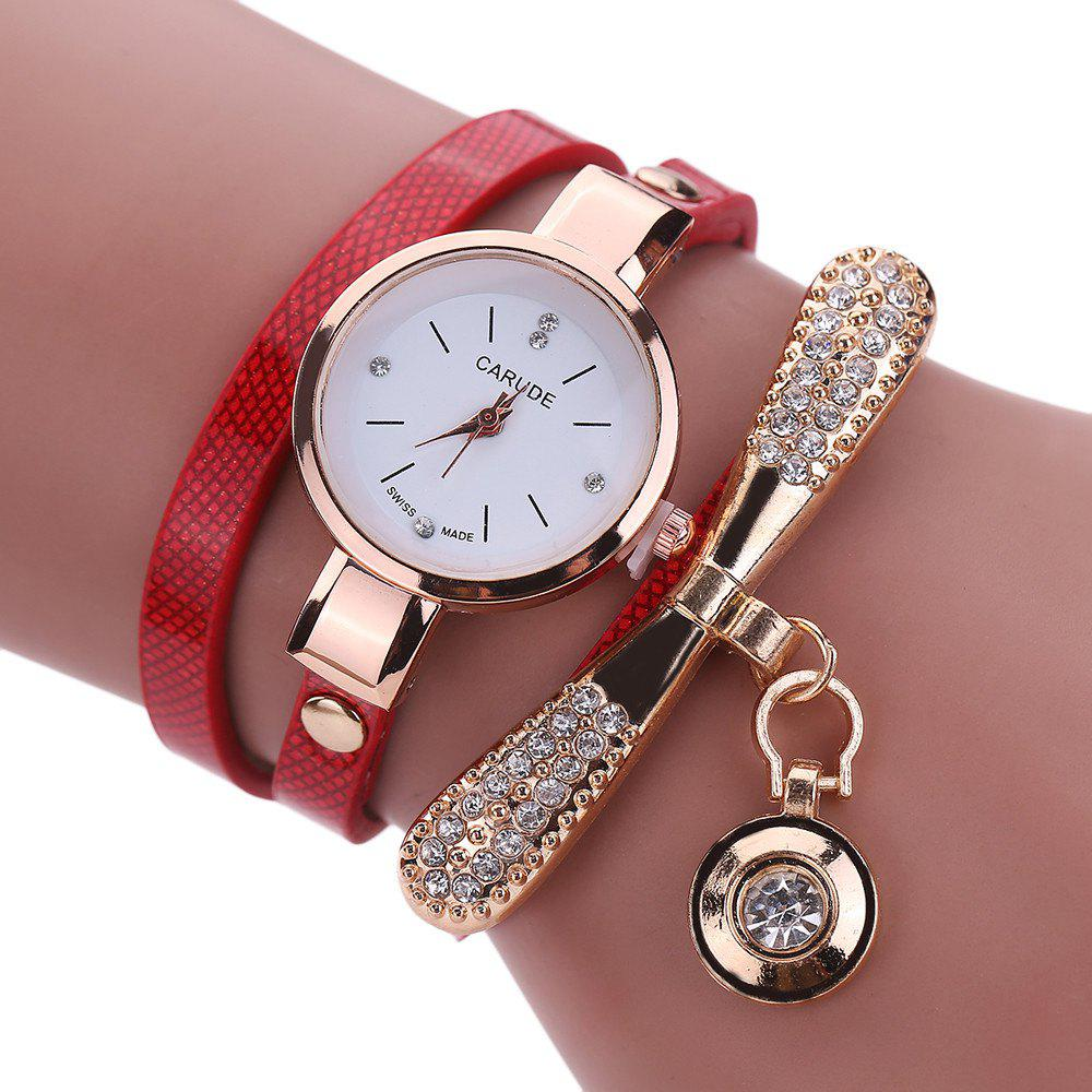 Women Leather Rhinestone Analog  Quartz Wrist  Harajuku Watches Bracelet - RED