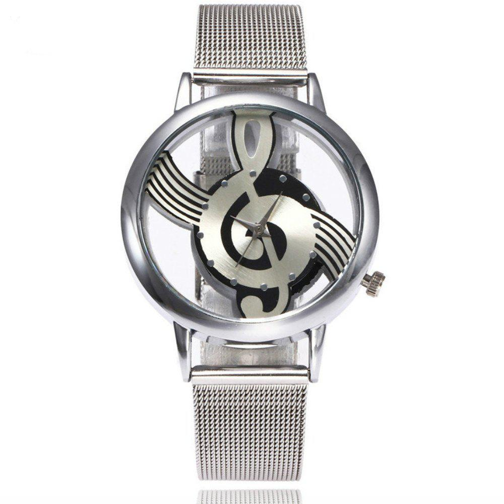 New Fashion Hollow Note Notation  Stainless Steel Quartz Wrist Mesh Belt Watch - SILVER