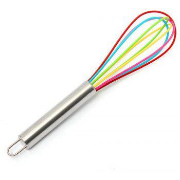 8 Inch Color Stainless Steel Handle Silicone Egg Beater Whisk Mixer Kitchen Tool - multicolor