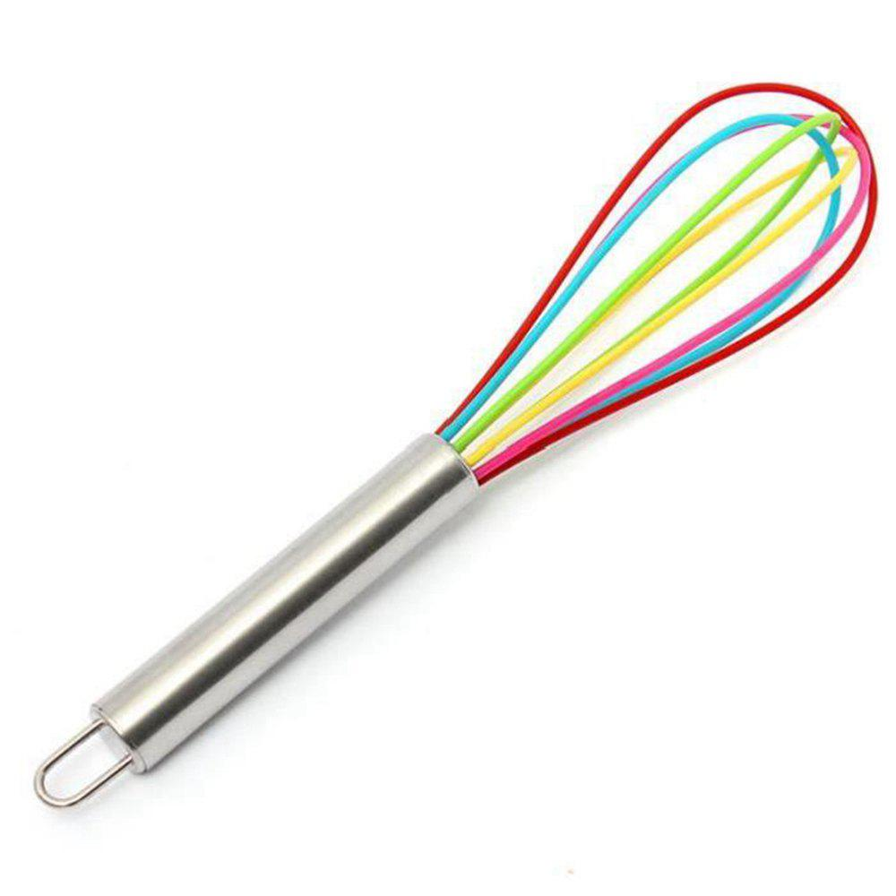 12 Inch Color Stainless Steel Handle Silicone Egg Beater Whisk Mixer - multicolor