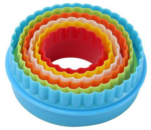 6pcs Circular Multi-size Cookie Cutter Set Biscuit Fondant for Kid Sandwich Mold - multicolor