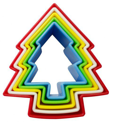 5pcs Chirstmas Tree Cookie Cutter Set Biscuit Fondant for Kid Sandwich Mold - multicolor