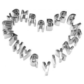 26 English Alphabet Letter Cookie Cutter Stainless Steel Biscuit Mold - SILVER