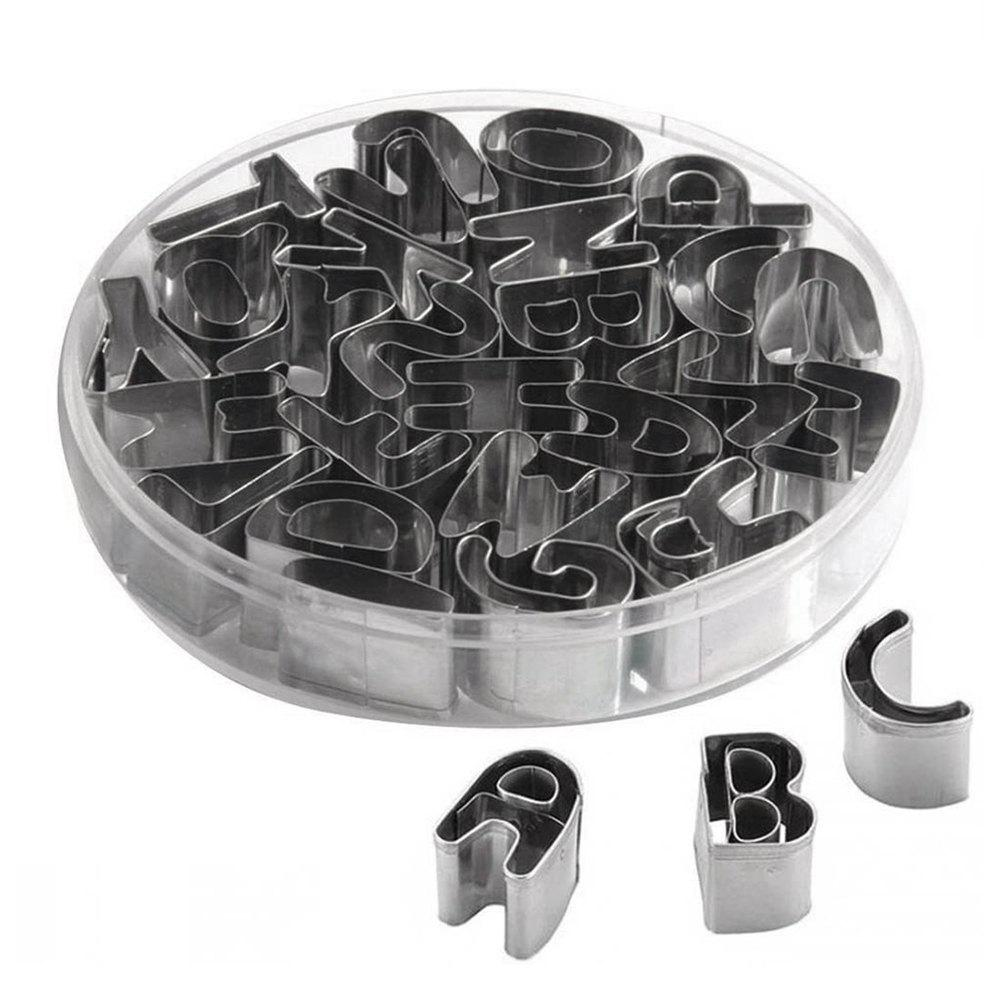 26 English Alphabet Letter Cookie Cutter Stainless Steel Biscuit Mold 3pcs stainless steel snowman cookie cutter cake biscuit decorating tool