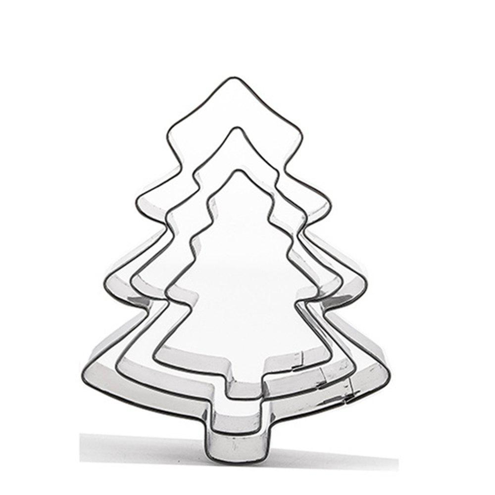 3pcs Stainless Steel Christmas Tree Cookie Cutter Cake Biscuits Decorating Tool 3pcs stainless steel snowman cookie cutter cake biscuit decorating tool