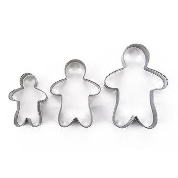 3pcs Stainless Steel Gingerbread Man Cookie Cutter Cake Biscuits Decorating Tool - SILVER