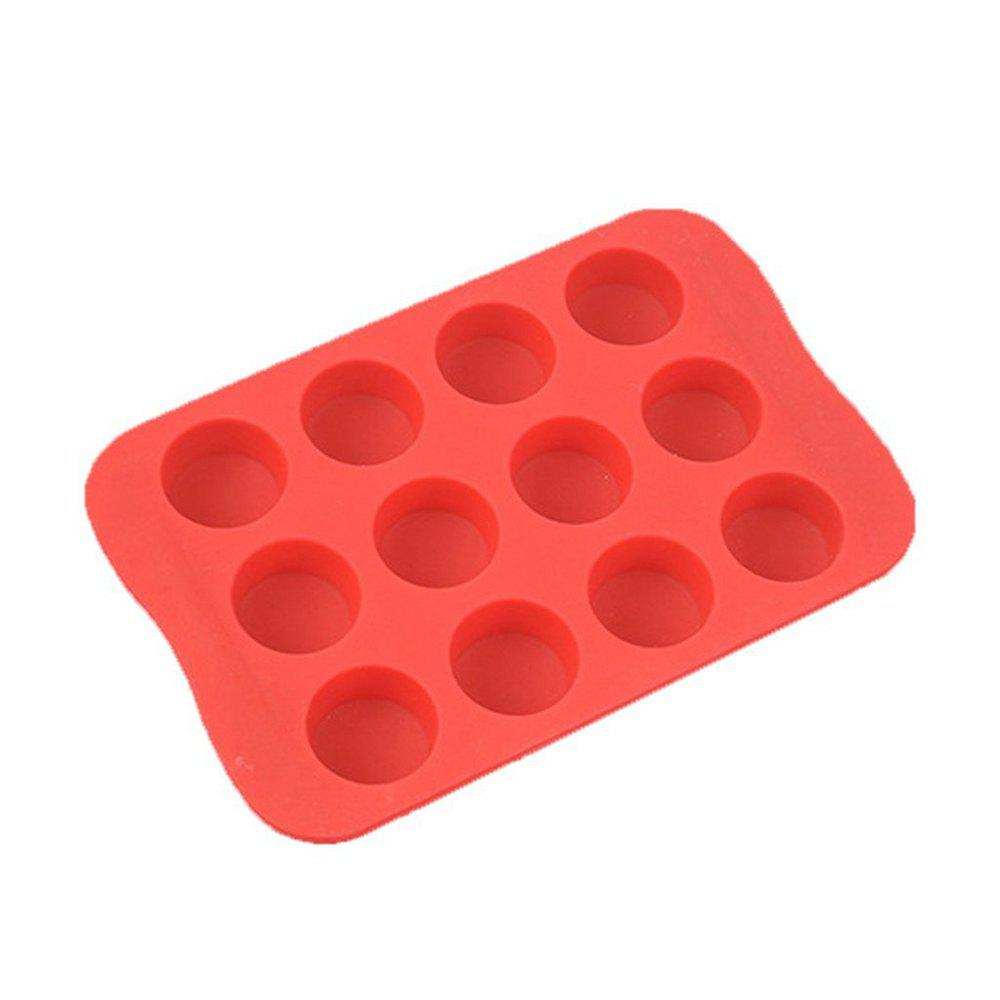 Round Shape Silicone Ice Cube Mold DIY Cake Jelly Chocolate Whisky Tray - VALENTINE RED