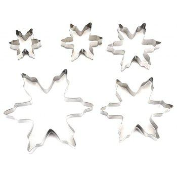 5pcs Stainless Steel Snowflake Shaped Cookie Cutter Mold Cake Pastry Baking Tool - SILVER
