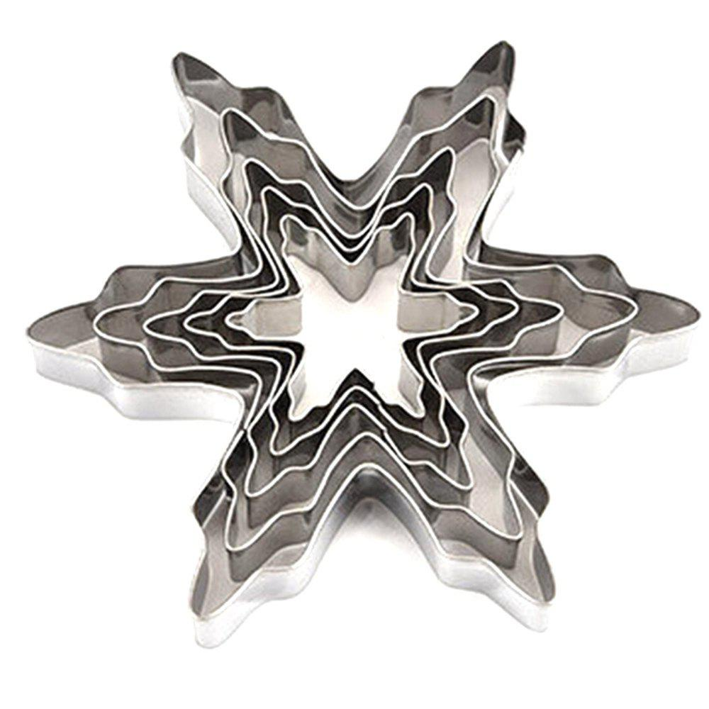 5pcs Stainless Steel Snowflake Shaped Cookie Cutter Mold Cake Pastry Baking Tool 3pcs stainless steel snowman cookie cutter cake biscuit decorating tool
