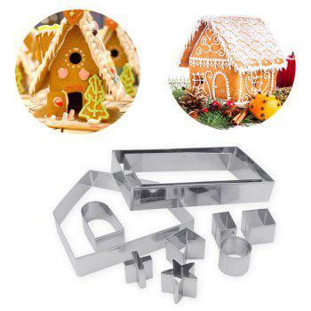 10pcs 3D Gingerbread House Stainless Steel Christmas Scenario Cookie Cutter Set - SILVER