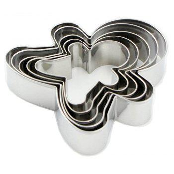 5pcs Stainless Steel Gingerbread Man Cookie Cutter Cake Biscuits Decorating Tool - SILVER
